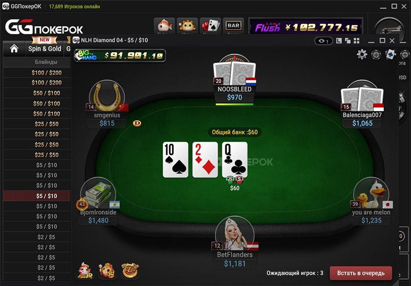 Столы с разными лимитами, бай-инами и количеством игроков в лобби рума GGPokerOK.